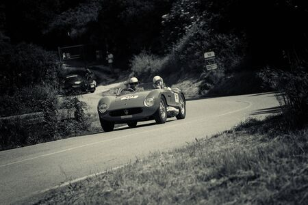 PESARO COLLE SAN BARTOLO , ITALY - MAY 17 - 2018 : MASERATI 150 S 1955 on an old racing car in rally Mille Miglia 2018 the famous italian historical race (1927-1957) Redakční