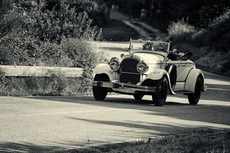 PESARO COLLE SAN BARTOLO , ITALY - MAY 17 - 2018 : CHRYSLER 72 DE LUXE ROADSTER 1928 on an old racing car in rally Mille Miglia 2018 the famous italian historical race (1927-1957) Redakční