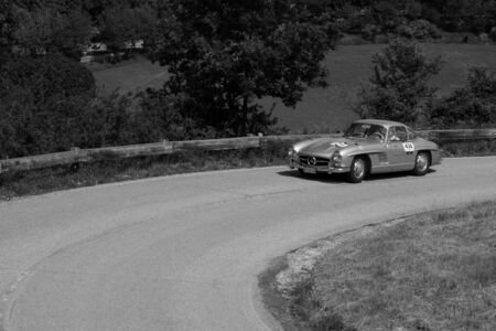 PESARO COLLE SAN BARTOLO , ITALY - MAY 17 - 2018 : MERCEDES-BENZ 300 SL COUPÉ (W198) 1956 on an old racing car in rally Mille Miglia 2018 the famous italian historical race (1927-1957)