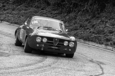PESARO COLLE SAN BARTOLO , ITALY - OTT 12 - 2019 : ALFA ROMEO GTAM on an old racing car in rally Editorial