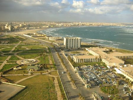 overcrowded: Tripoli, Libya, View of the city to the west
