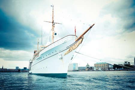 Copenhagen, Denmark - White luxury big boat in the harbor Stock Photo