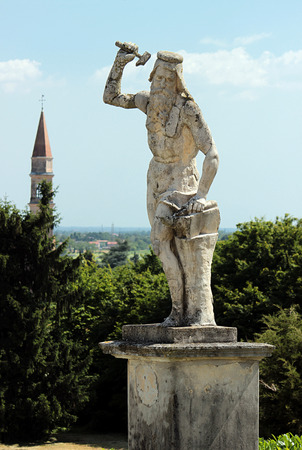 barbaro: View of a statue in the garden of Villa Barbaro, Italy
