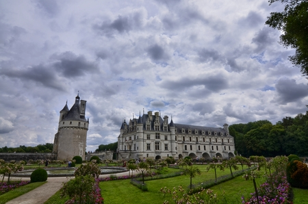 Castle of Chenonceau, Loire region, France. Snap of June 27, 2017. View of the castle from the side of the gardens of Caterina de Medici