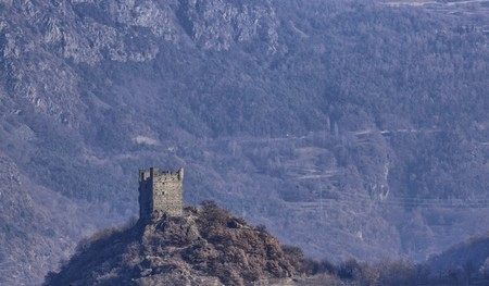 Ussel fraction of Chatillon, Valle d'Aosta, Italy 11 February 2018. Shot taken from the valley, near the castle of Gamba towards the castle of Ussel.