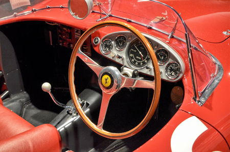 Maranello, Emilia Romagna, Italy. December 2018. At the Ferrari museum, the 500 TRC. Where TR indicates red tesat, for the red colored engine heads. This beautiful model turned out to be a winner.