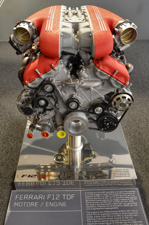 Maranello, Emilia Romagna, Italy. December 2018. In the Ferrari museum, in addition to the machines, we find the details of the engines displayed as jewels. Here the engine block of the F12 TDF. Sajtókép
