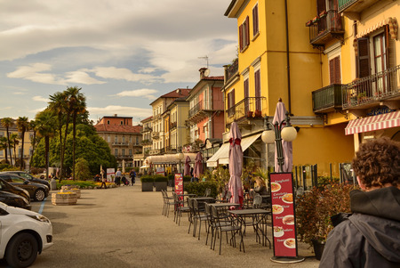 Verbania, Piedmont, Italy. March 2019. On the lakeside bar, ice cream parlors, restaurants offer refreshment to tourists during their visit. From these rooms you can enjoy the view of the lake in relax.