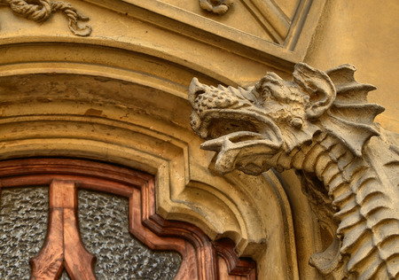 Turin, Piemonte, Italy. October 2018. The house of victory or house of dragons, is one of the most representative examples of the Neo-Gothic style civil residence of the city.