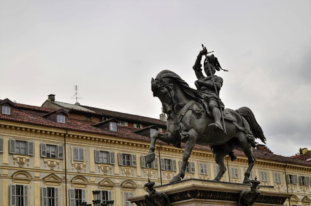 Turin, Piedmont, Italy. April 2019. In Piazza San Carlo the equestrian statue of Emanuele Filiberto of Savoy that characterizes the square. The Turinese simply call it the bronze horse. Editorial