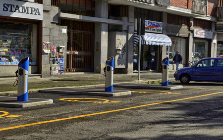 Turin, Italy, Piedmont June 08 2018. Electric car rental, parking with fast charging points. Editorial