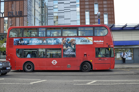London, United Kingdom, June 14 2018. Also on the outskirts of London, in Colindale, you can see the famous red double decker London buses.