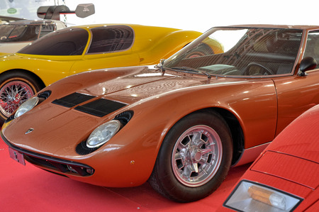 Turin, Piedmont, Italy. June 2018. At the Valentino park, the motor show. Two glorious Lamborghini models are displayed next to each other: the Miura and the Countach.