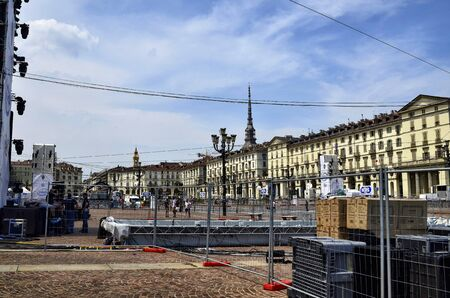 Turin, Piemonte, Italy. June 2019. Piazza Vittorio. For the night show with luminous drones to celebrate the patron saint of the city, the square is equipped with technological equipment.