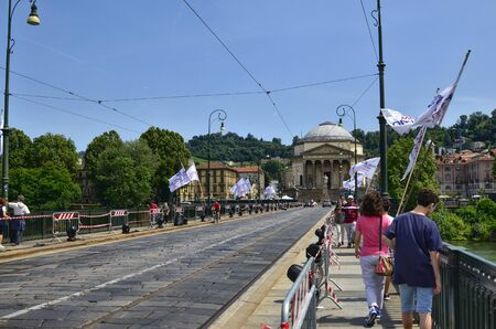 Turin, Piedmont, Italy.June 2019. From piazza Vittorio view of the church of the great Mother. High-voltage cables for trams. Redactioneel