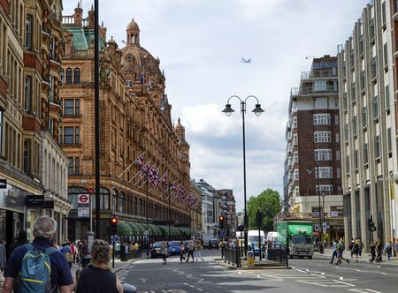London, United Kingdom, June 2018. The harrods warehouses, a reference point for luxury customers. It is a commercial one hundred with an extremely wide offer and always with very high levels.