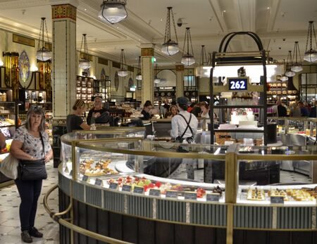 London, United Kingdom, June 2018. At Harrods warehouses, tempting appetizers of the best London confectionery.