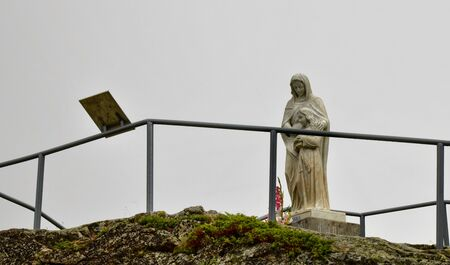 S. Anna di Vinadio, Piedmont, Italy. July 2019. The statue of s. Anna with her daughter Maria. It was placed where the legend tells of its appearance.