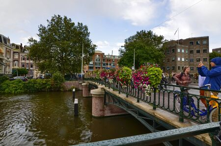 Amsterdam, Holland, August 2019. Tthe museum bridge, which gives access to the Rijksmuseum. Editorial