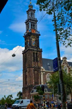 Amsterdam, Holland, August 2019. The bell tower of the Western Church, in Dutch