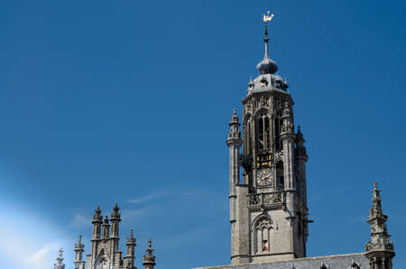 Details of the magnificent gothic style town hall, beautiful summer day.