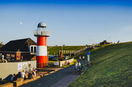 Westkapelle, Netherlands, August 2019. One of the lighthouses in the built-up area. Redactioneel