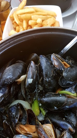 Mussels and fries (Mules frites). Typical dish of French cuisine
