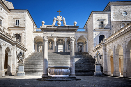 Montecassimo Abbey. Interior of the Abbey at Montecassino, The Abbey was destroyed by bombing in Second World War and rebuilt. italy Editorial