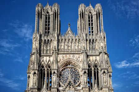성당 노트르담, 랭스, 프랑스 스톡 콘텐츠