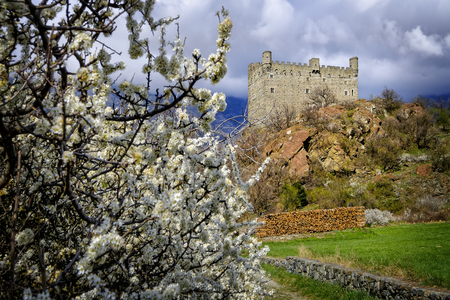Ussel Castle in Chatillon in Aosta Valley, Italy Stock Photo