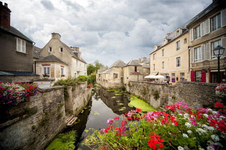 Bayeux, France - Scene of Bayeux with a waterway named the Aure. Editorial