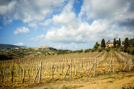 San Gimignano medieval town towers skyline and countryside landscape panorama. Tuscany, Italy, Europe. Stock Photo