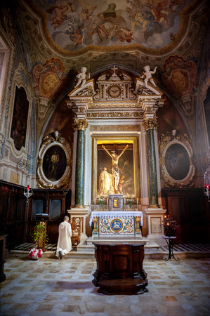 MONTE OLIVETO, TUSCANY-ITALY: The Baroque interior and frescoes of the Abbey of Monte Oliveto Maggiore is a large Benedictine monastery in the Italian region of Tuscany, near Siena.