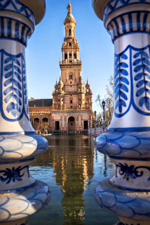 Spain Square (Plaza de Espana), Seville, Spain, built on 1928, it is one example of the Regionalism Architecture mixing Renaissance and Moorish styles. Stock Photo