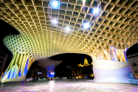 SPAIN - SEVILLA: Night view of Metropol Parasol in Plaza Encarnacion, Andalusia province.