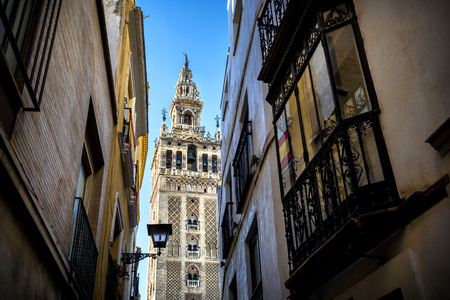 The Giralda, bell tower of the Cathedral of Seville in Seville, Andalusia, Spain Stock Photo