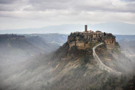 Civita di Bagnoregio, Viterbo, Lazio, Italy: picturesque landscape at dawn of the ancient village