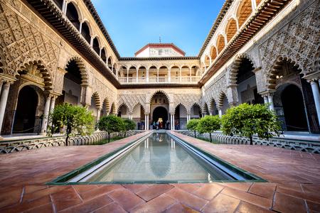 SEVILLE, SPAIN: Real Alcazar in Seville. Patio de las Doncellas in the Royal Palace, Real Alcazar (built in 1360), Spain Editorial