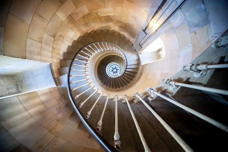 Phare des Baleines, Isle du Re, France. Internal staircase.The lighthouse has been washed up at this point on the Isle of Re.