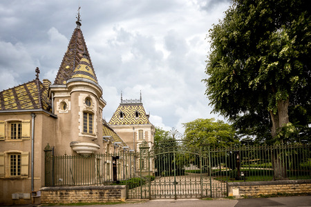 Burgundy, Chateau Corton Charlemagne. France. Corton-Charlemagne is named after the Holy Roman Emperor Charlemagne, who once owned the hill of Corton. france