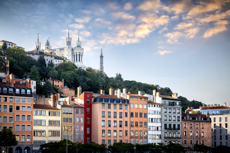 Lyon, Notre-Dame de Fourviere Basilica with Saone river, France Stock Photo