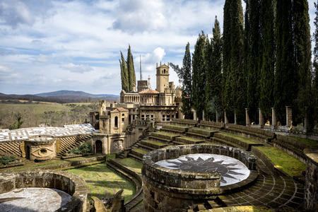 MONTEGABBIONE: Scarzuola, the Ideal City, the work of art designed by Tommaso Buzzi, Inside the park of the ancient Catholic sanctuary in the country of Umbria region. Italy.
