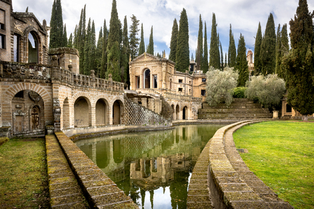 MONTEGABBIONE: Scarzuola, the Ideal City, Inside the park of the ancient Catholic sanctuary in the country of Umbria region. Italy. 에디토리얼