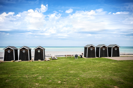 Sainte-Marguerite-Sur-Mar - Normandy - France: ocean view beach cabins for a relaxing day. France