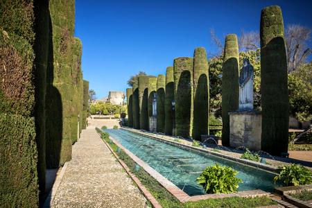 Gardens at the Alcazar de los Reyes Cristianos in Cordoba, Spain Stock fotó