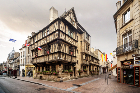 Bayeux - France: Old Norman building in Bayeux center ville. france Editorial