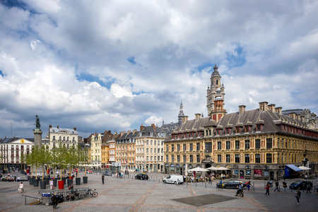 LILLE: Place du General de Gaulle square in front of the old Stock Exchange building in Lille, France