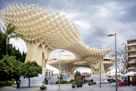 SPAIN - SEVILLA, FEBRUARY 21, 2018: view of Metropol Parasol in Plaza Encarnacion, Andalusia province. Editorial