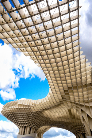 SPAIN - SEVILLA, FEBRUARY 21, 2018: view of Metropol Parasol in Plaza Encarnacion, Andalusia province. Editöryel