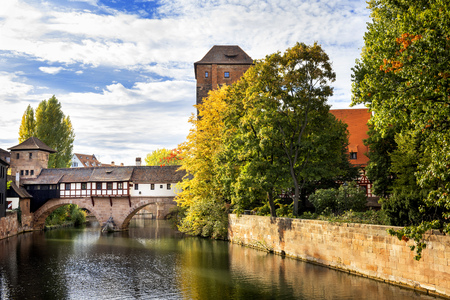 Nuremberg, Hangmans Bridge over the Pegnitz River. Franconia, Germany 写真素材